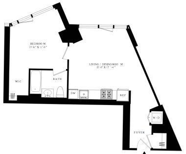 1-Bed floor plan