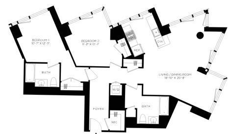 2-Bed floor plan