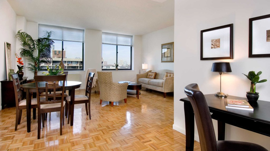 Living and Dining Room with Parquet Flooring