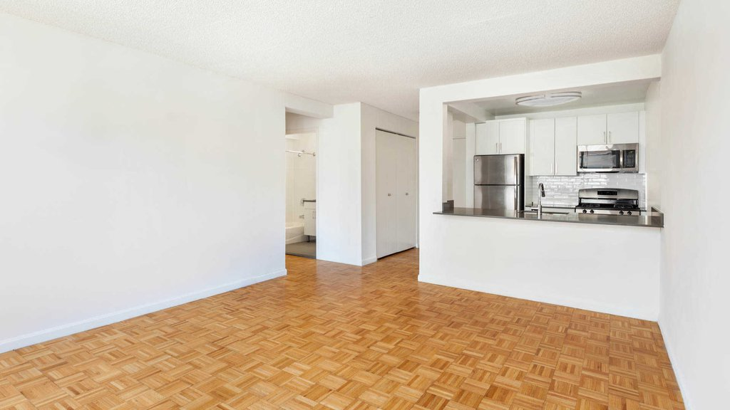 Kitchen and Living Room with Parquet Flooring