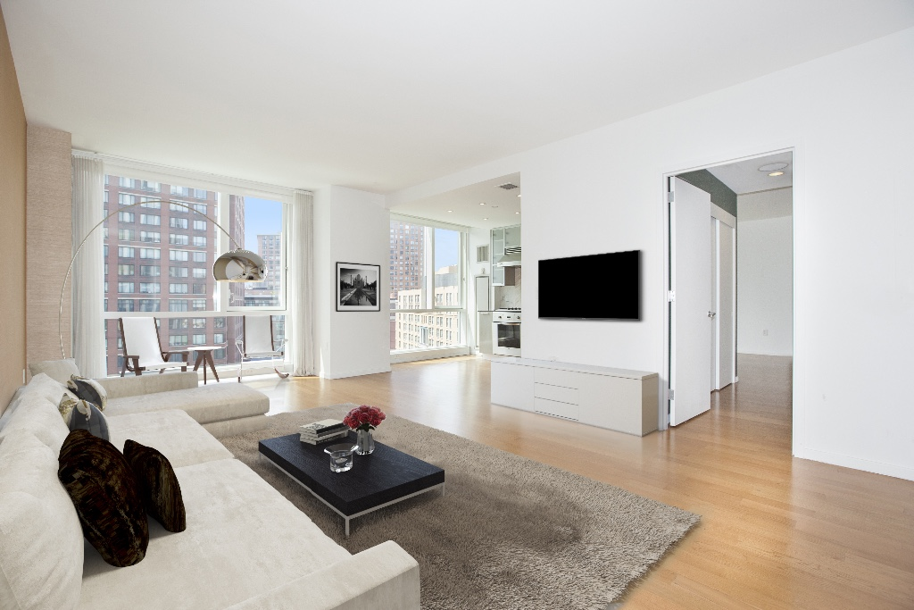 Luxurious high-floor 2BR with views of skyline and Hudson River** Available immediately. Welcome home to this high-floor spacious and bright 2BR with beautiful western exposure and skyline in Tribeca!- Pets case by case- No shares.- No broker fee to Listing Agent. This beautiful 2BR home welcomes you with its large entry foyer and comfortable open layout.  Its floor-to-ceiling windows facing west to the open views of skyline and the park.  Wonderfully designed floorplan with the two large split bedrooms, gracious living room with a nice open kitchen, great closets, washer/dryer, spa-like Master bath with deep soaking tub and separate glass shower plus double vanity. central ac with different zone temperature control.200 Chambers Street is a highly sought-after luxury Condominium in TriBeCa.  Excellent amenities include 24 hour doorman & concierge, sky-lit indoor pool, fitness center, lounge, childrens playroom, roof top terrace, tranquil waterfall courtyard and garage. Whole Foods, Barnes & Noble, Hudson River Park, tons of dining are all around the block.