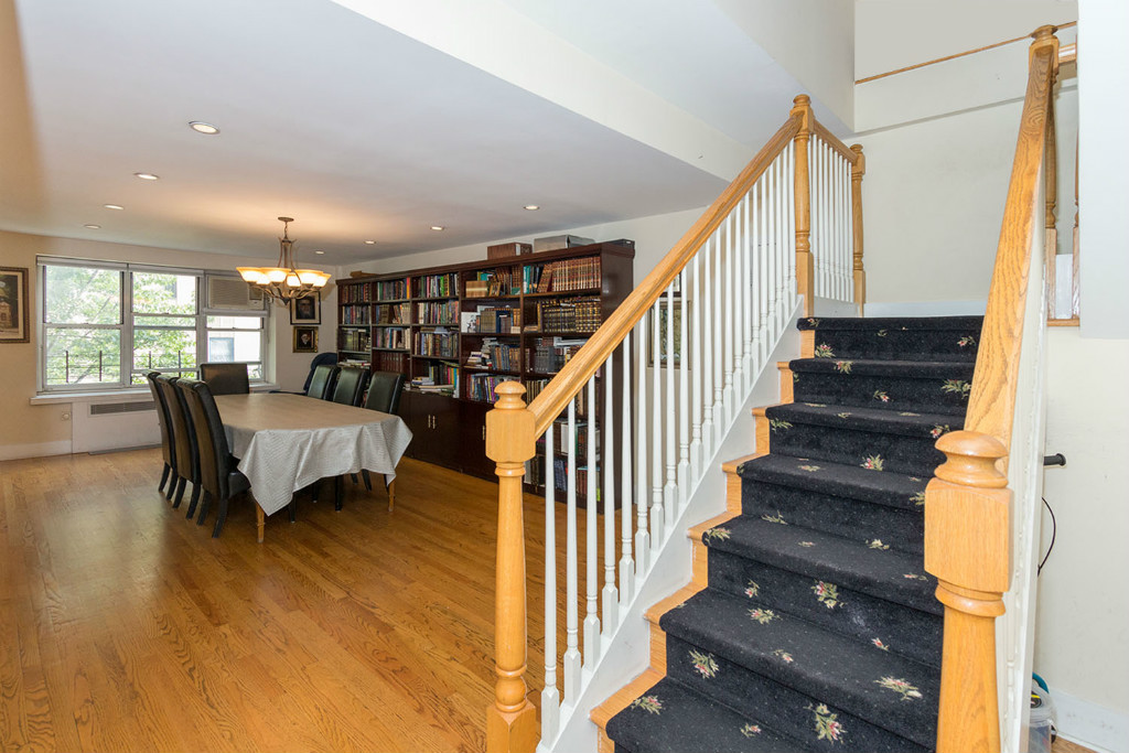 Living area w stairs.