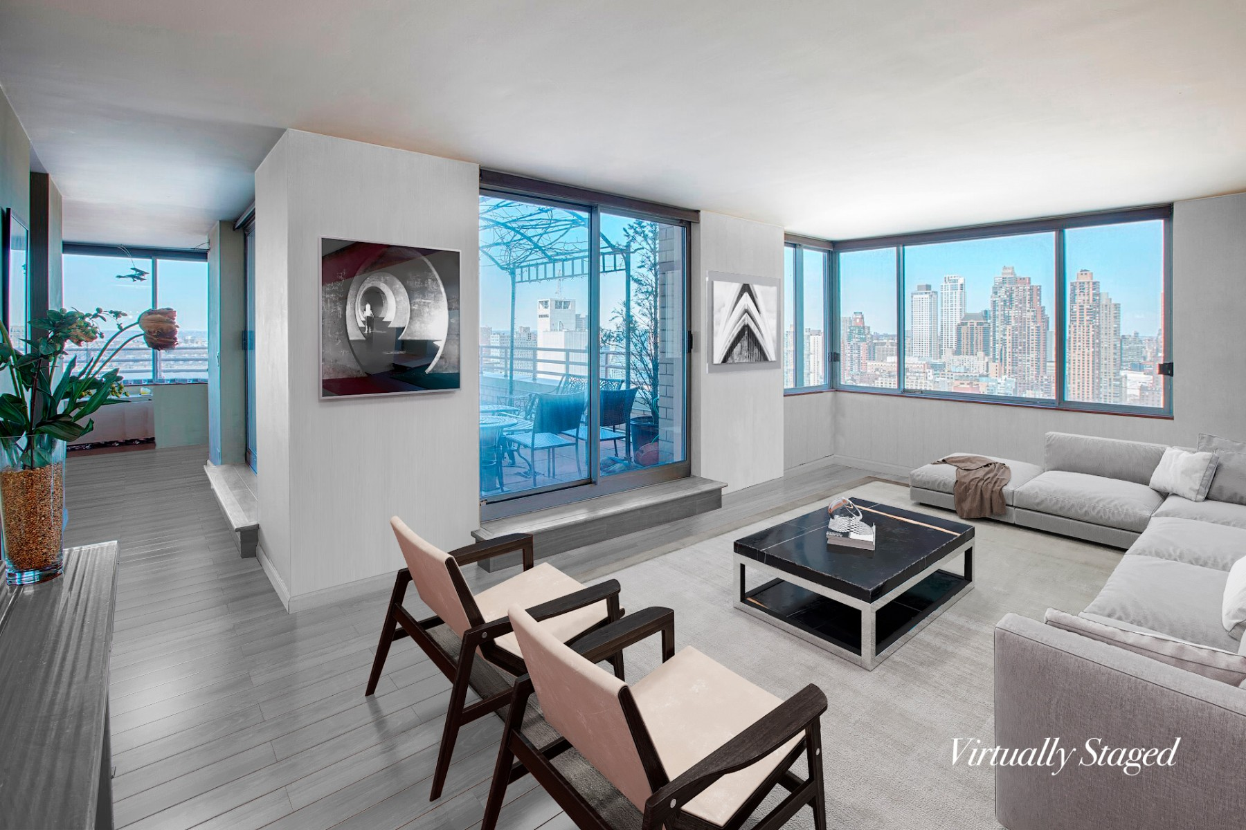 "Step into your new Penthouse and you will be mesmerized by the dramatic unobstructed West and North views from every room, especially your unique nearly 400 square foot terrace overlooking the Hudson River and Northern Manhattan. This split 2 bedroom, 2.5 bathroom palace in the sky is located on the Penthouse level of Two Worldwide Plaza.  It is one of the only units with such a large outdoor space which makes it extremely unique.  Imagine coming home from a long day at work, step outside to watch the magical sunset with a refreshing glass of wine in hand. You can watch the cruise ships go by on weekends and boats sail along the Hudson. From the minute you walk through the door, you will love the natural light cascading through the windows.   Bring lots of place settings and all of your cooking gadgets because this open chefs kitchen is equipped with GE Stainless Steel appliances and granite countertops. There is a separate dining room overlooking the terrace with magical views of the Hudson River and Northern Manhattan. This unit is equipped with a dishwasher and washer/dryer tucked away in a closet. The second bedroom has a fold up Murphy bed so it can function as a bedroom at night and office by day.Two Worldwide Plaza includes amenities such as a 24 hour Concierge, doorman, live in resident manager, eight laundry rooms, roof deck with beautiful open views, a ""Resident's only"" courtyard and resident's lounge. David Barton's 40,000 sq ft. newest gym TMPL with the latest technology, saltwater pool and sauna is connected to the building. Monthly and annual memberships available. The Residences at Worldwide Plaza is a full service condominium located in the heart of Manhattan's theater district and the Midtown Financial District, steps to Central Park, Lincoln Center, Rockefeller Center, the Hudson River Park, St. Patrick's Cathedral, The Citys best Restaurants, Shopping and Museums. There is a garage attached to the building available to residents.  It is located just steps to the C, E, 1, W, N, R, B, D, F and M subway lines and cross-town buses."