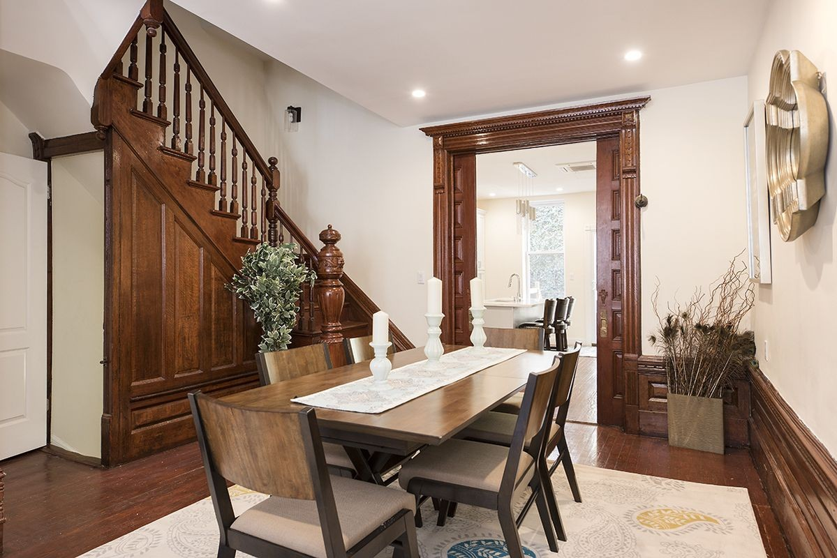Spacious and masterfully designed luxury townhouse. This enormous 4 bedroom, 5 bathroom triplex is drenched in marble and mahogany wood, has a large backyard, and a lovely porch.Expertly designed open chef kitchen, with steel appliances, and marble finishes. This large eat-in style kitchen has a lovely porch, fireplace, lots of windows, and is the perfect space for entertaining.**The Master suite is one of the largest you can find. It accommodates a California king bed and has many windows with natural light. **Custom made bar in the living room, and a generous dining room. Other features include: central heating & cooling, in-unit washer/dryer, laundry closets and abundant closet space throughout the house. It is large enough to accommodate three separate sitting areas, dining for 15, and is perfect for hosting guests, dinners, and events.**The second master bedroom, has a massive en-suite marble bathroom with a windowed ceiling, two large closets and a custom built shoe closet. The suite is sun soaked with many windows that offer bright sunshine all day.**Other features include: a marble master bathroom with an enormous Jacuzzi, a custom designed marble vanity, a spacious closet, and a fireplace.Conveniently located by the 145 express line, and is 2 stops away from Central Park/Columbus Circle. Parking and storage available, and can be rented with or without furniture.Short distance from the following MTA trains: A, B, C, D, 1, 2, 3, 6Please contact me with any question and a request for your PRIVATE showing!