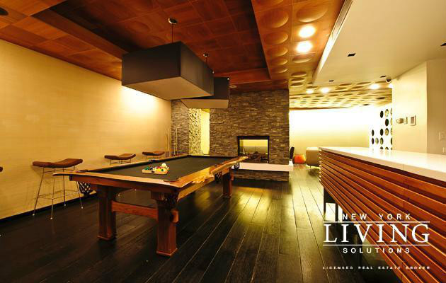 Lounge w/fireplace  pool table  screening room