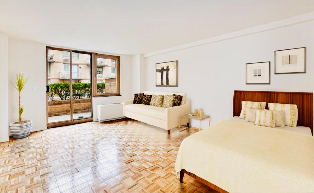 Spacious and sunny studio with big private terrace (130 square feet) basks in natural sunlight all day long to the south, facing the scenic landscaped and quiet residents courtyard. The apartment features wood flooring throughout, a gallery kitchen with new appliances and 2 big closets. Washer/Dryer are permitted to be installed in the apartment.Worldwide Plaza is a full-service condominium that pampers its residents with concierge and 24-hour doorman services, a live-in resident manager, a scenic landscaped courtyard and lounge, valet service, eight laundry rooms (washer and dryers are permitted within the residences), on-site garage and a separate full-service health club (TMPL GYM) equipped with a 25 meter salt water pool and a huge virtual reality cycling room. Centrally located off of 8th Avenue, Worldwide Plaza capitalizes on its close proximity to Columbus Circle, Manhattans world renowned theater district, restaurant row in Hells Kitchen, Times Square, Central Park, Rockefeller Center, St. Patricks Cathedral, Uptown museums, 5th Avenue retail and major transportation such as the A, B, C, D, 1, E, N, Q, R subway trains and crosstown buses.